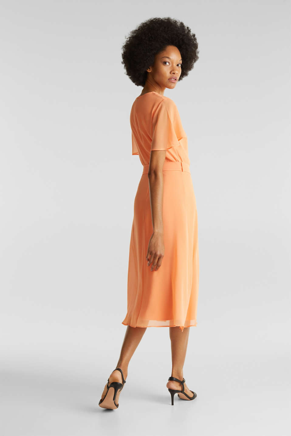 Chiffon dress with a wrap-over effect, ORANGE, detail image number 2