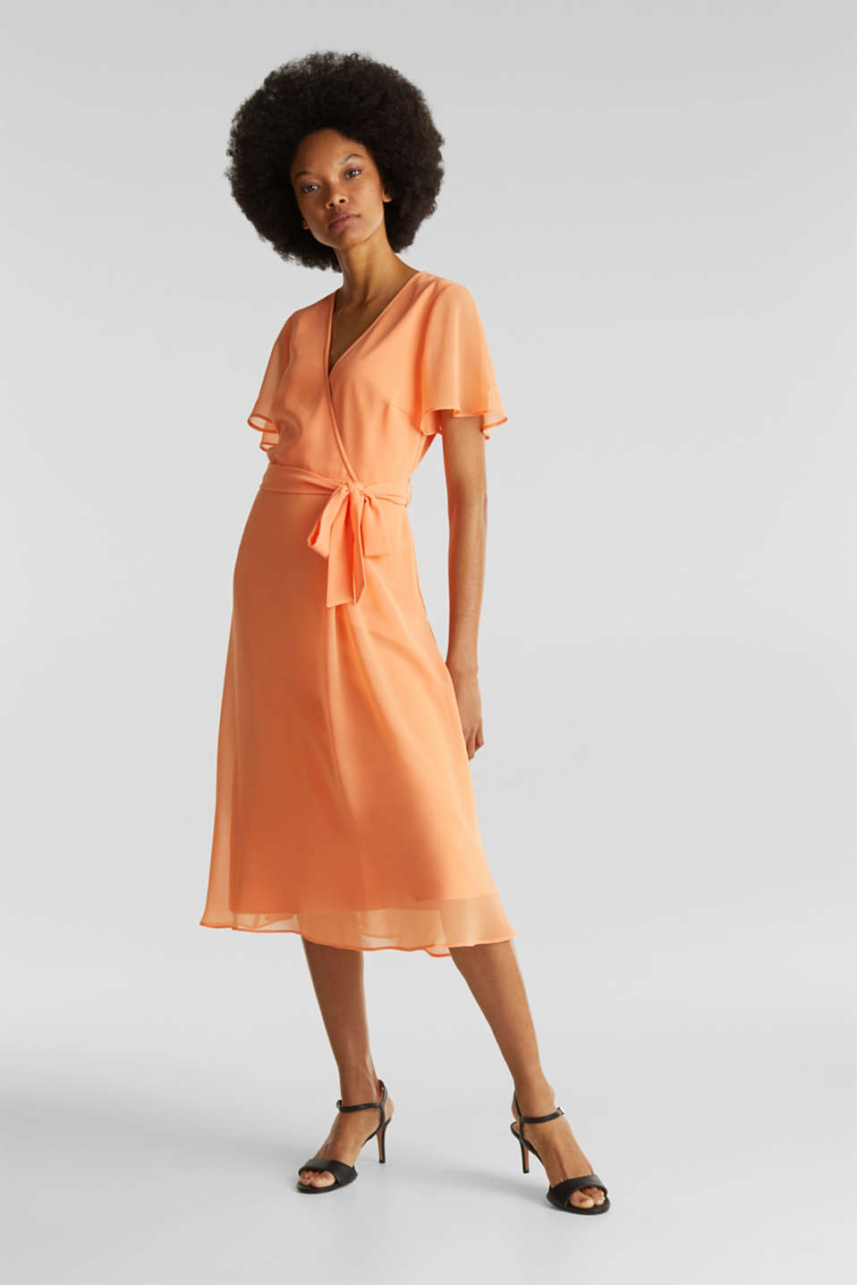 Chiffon dress with a wrap-over effect, ORANGE, detail image number 1