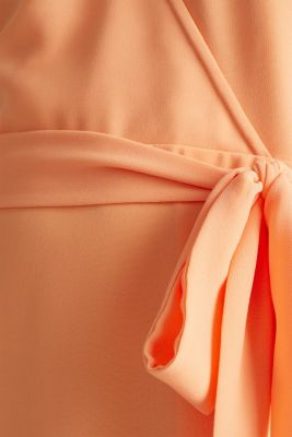 Chiffon dress with a wrap-over effect, ORANGE, detail