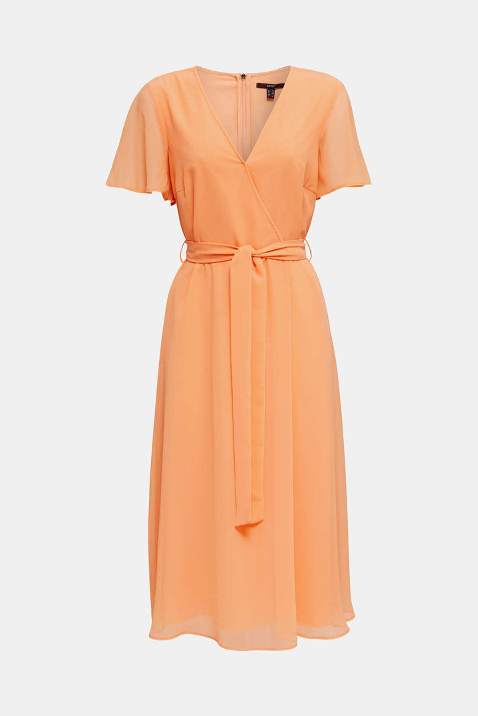 Chiffon dress with a wrap-over effect, ORANGE, detail image number 5