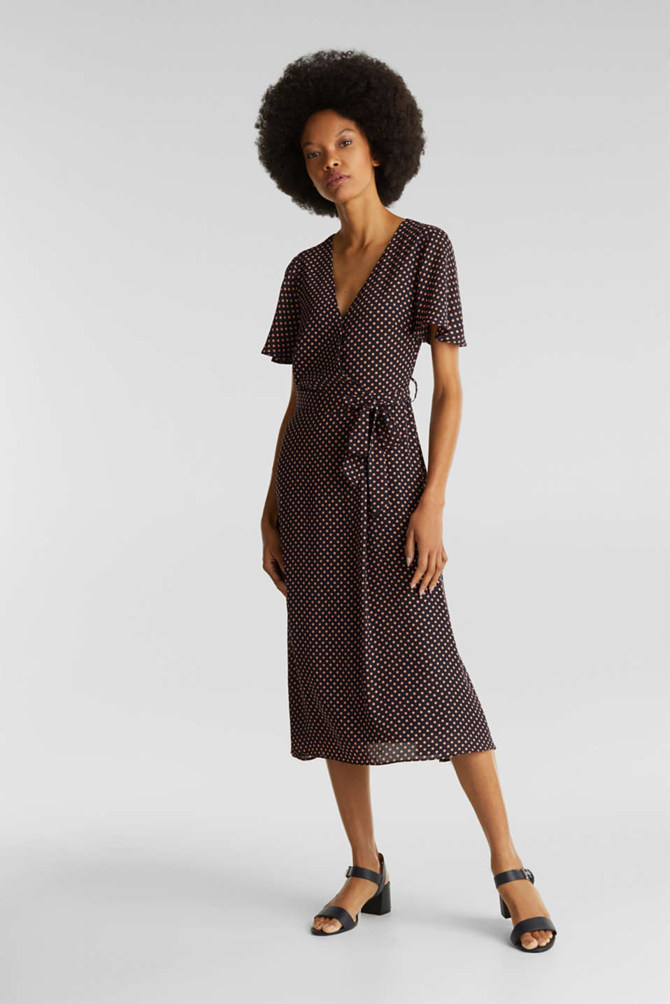 Esprit - Print dress with a wrap-over effect