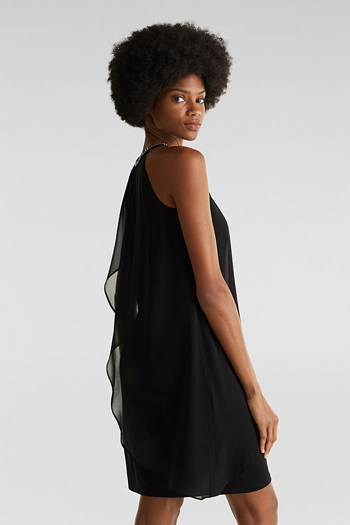 Jersey dress with chiffon layering, BLACK, detail image number 2