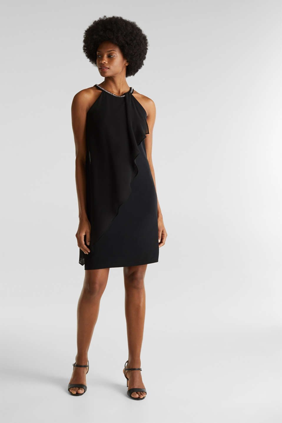 Jersey dress with chiffon layering, BLACK, detail image number 1