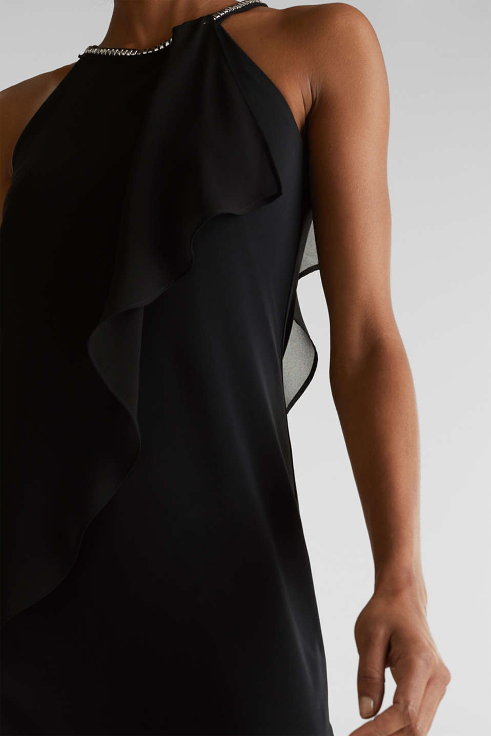 Jersey dress with chiffon layering, BLACK, detail image number 3