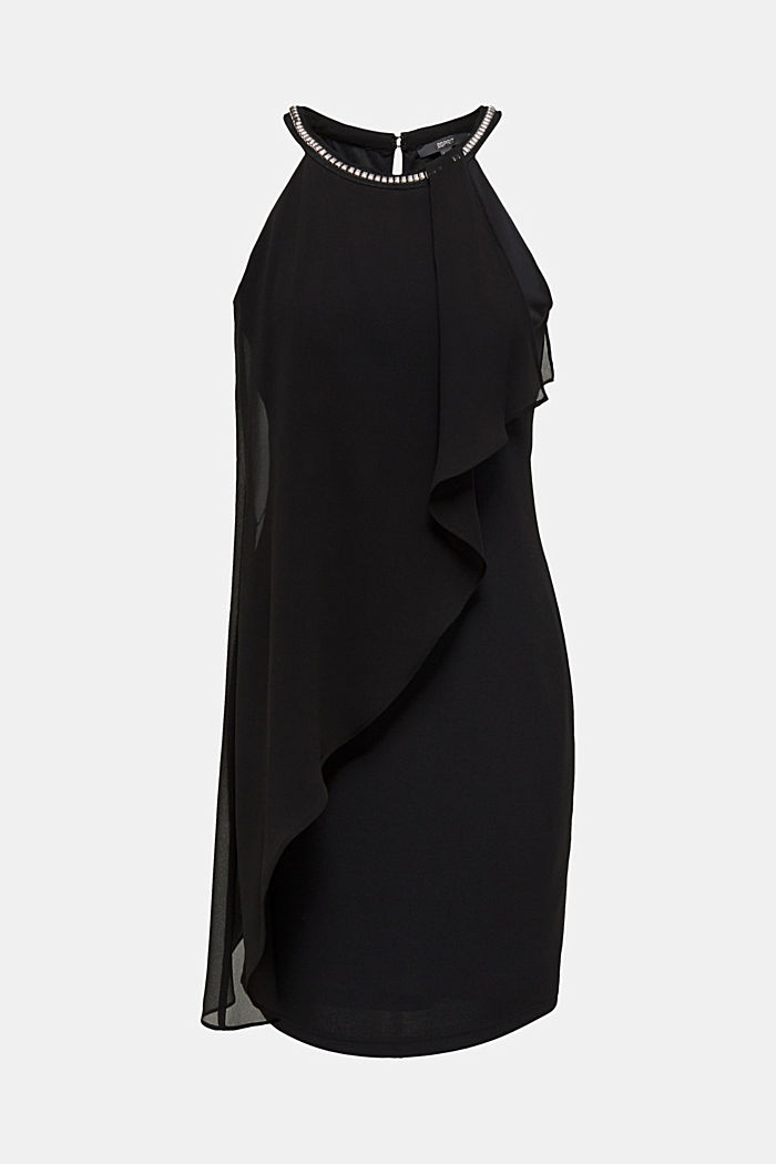 Jersey dress with chiffon layering
