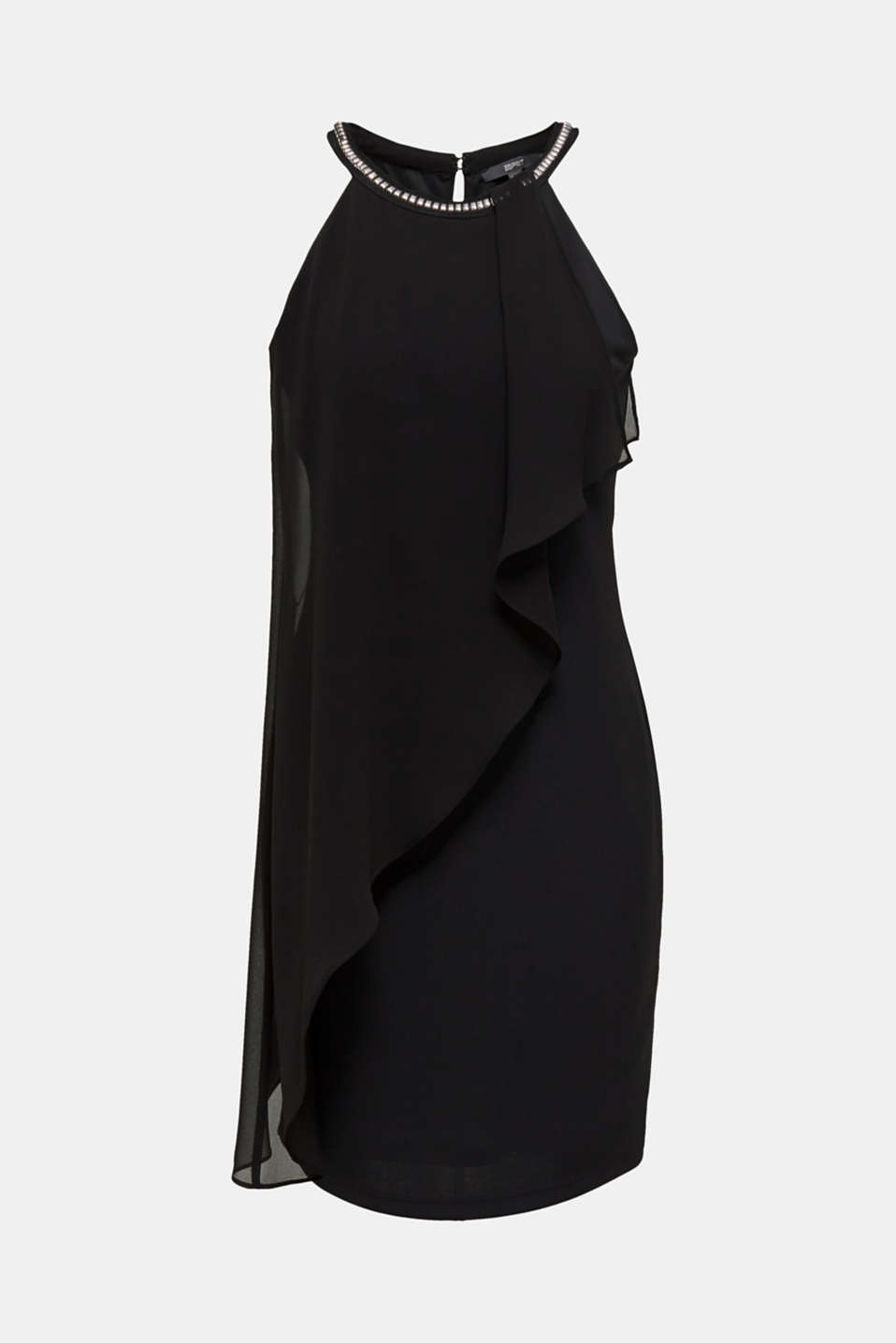 Jersey dress with chiffon layering, BLACK, detail image number 6