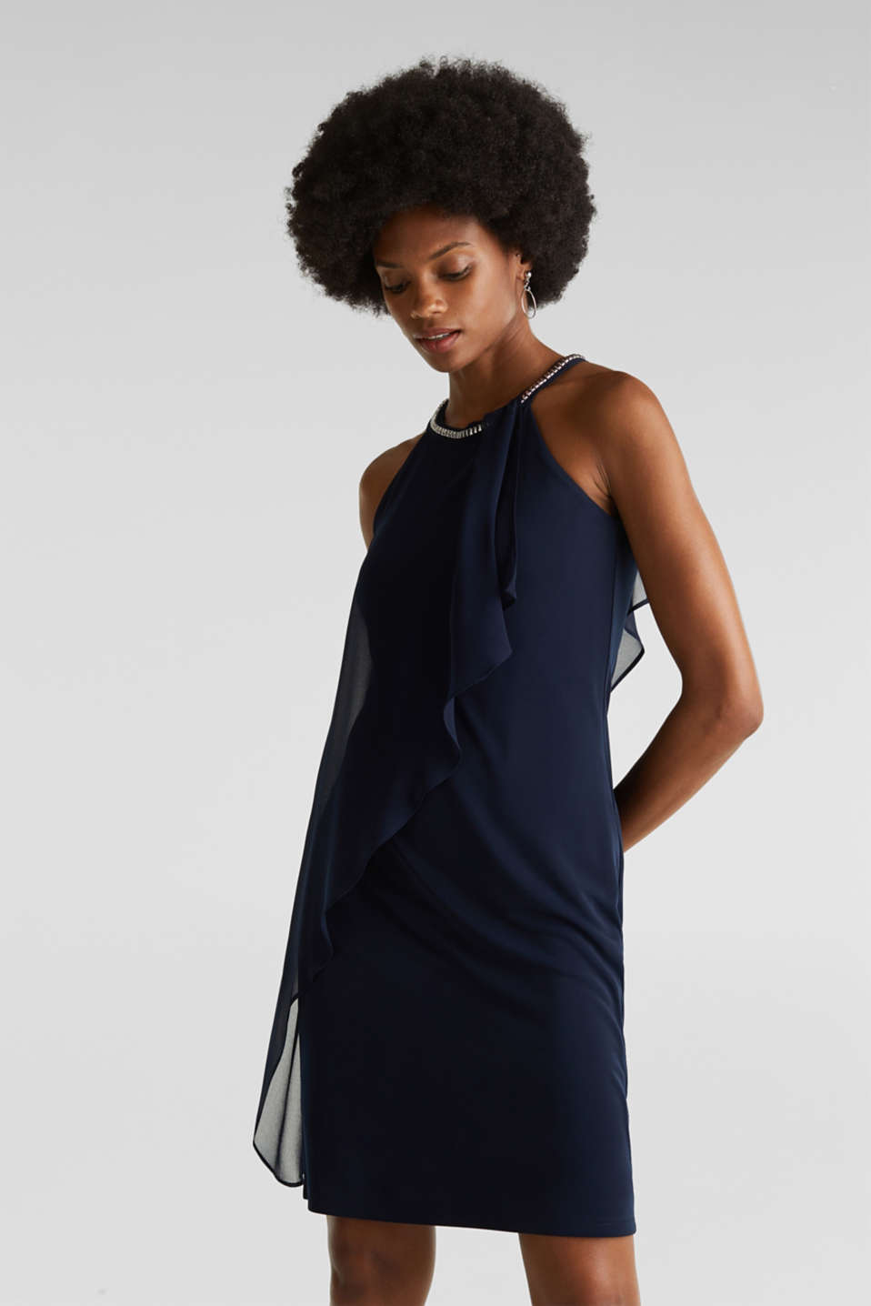 Jersey dress with chiffon layering, NAVY, detail image number 0