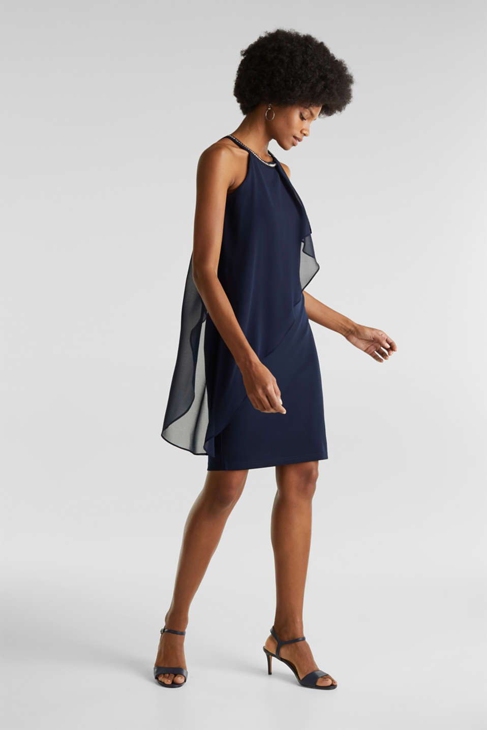 Jersey dress with chiffon layering, NAVY, detail image number 5