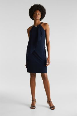 Jersey dress with chiffon layering, NAVY, detail