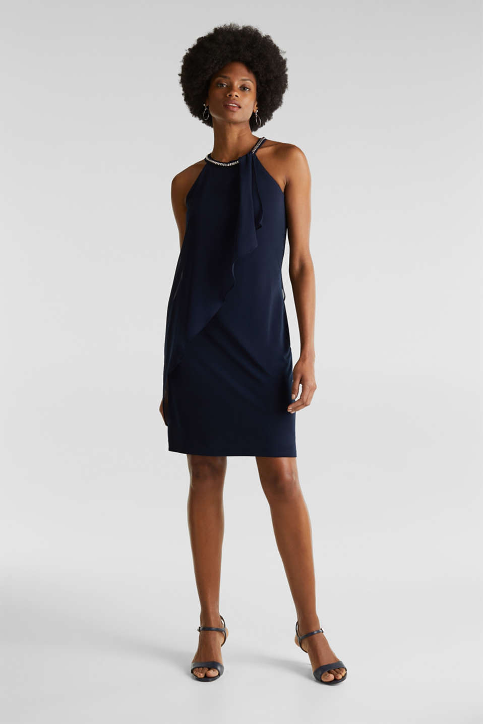 Jersey dress with chiffon layering, NAVY, detail image number 1