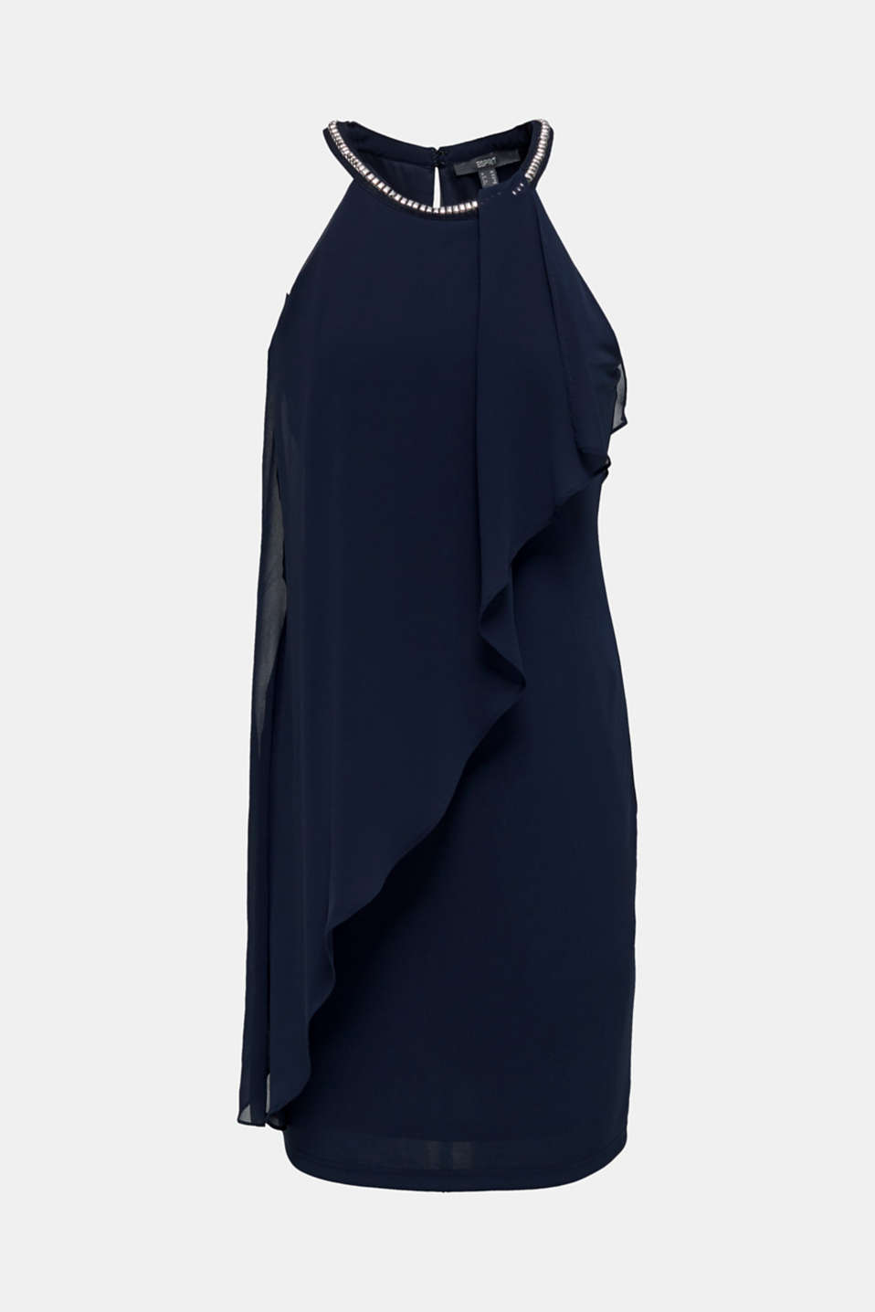 Jersey dress with chiffon layering, NAVY, detail image number 7