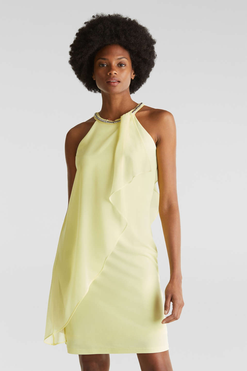 Esprit - Jersey dress with chiffon layering
