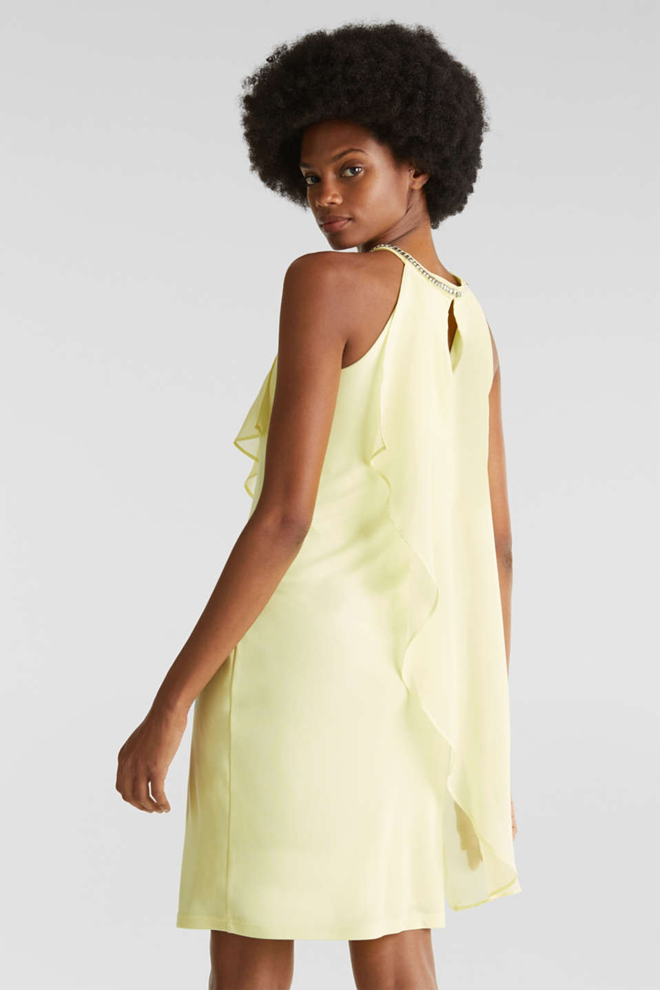 Jersey dress with chiffon layering, LIME YELLOW, detail image number 2