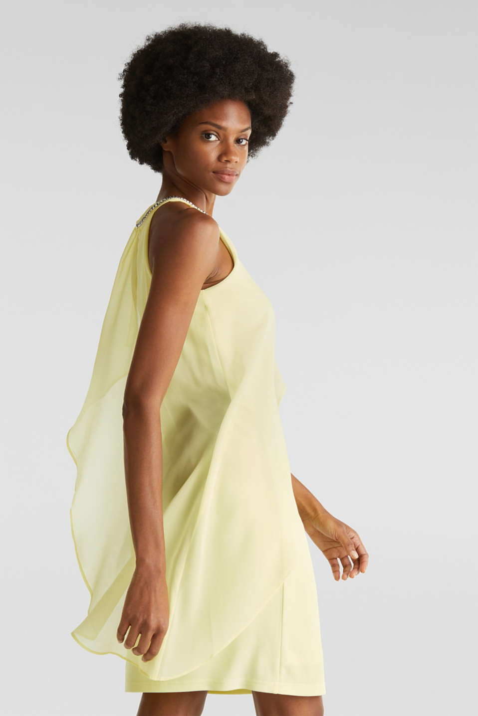 Jersey dress with chiffon layering, LIME YELLOW, detail image number 4