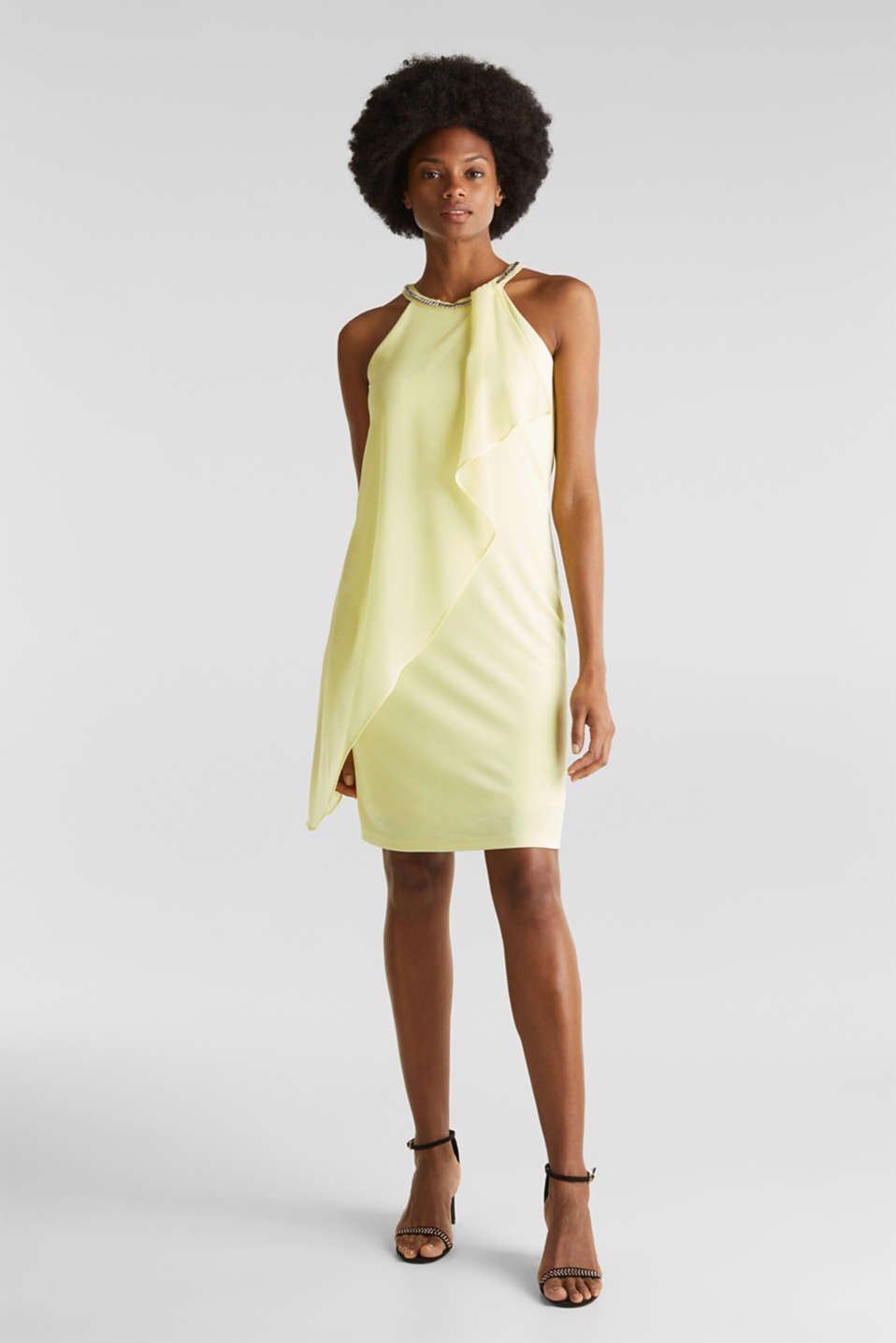 Jersey dress with chiffon layering, LIME YELLOW, detail image number 1