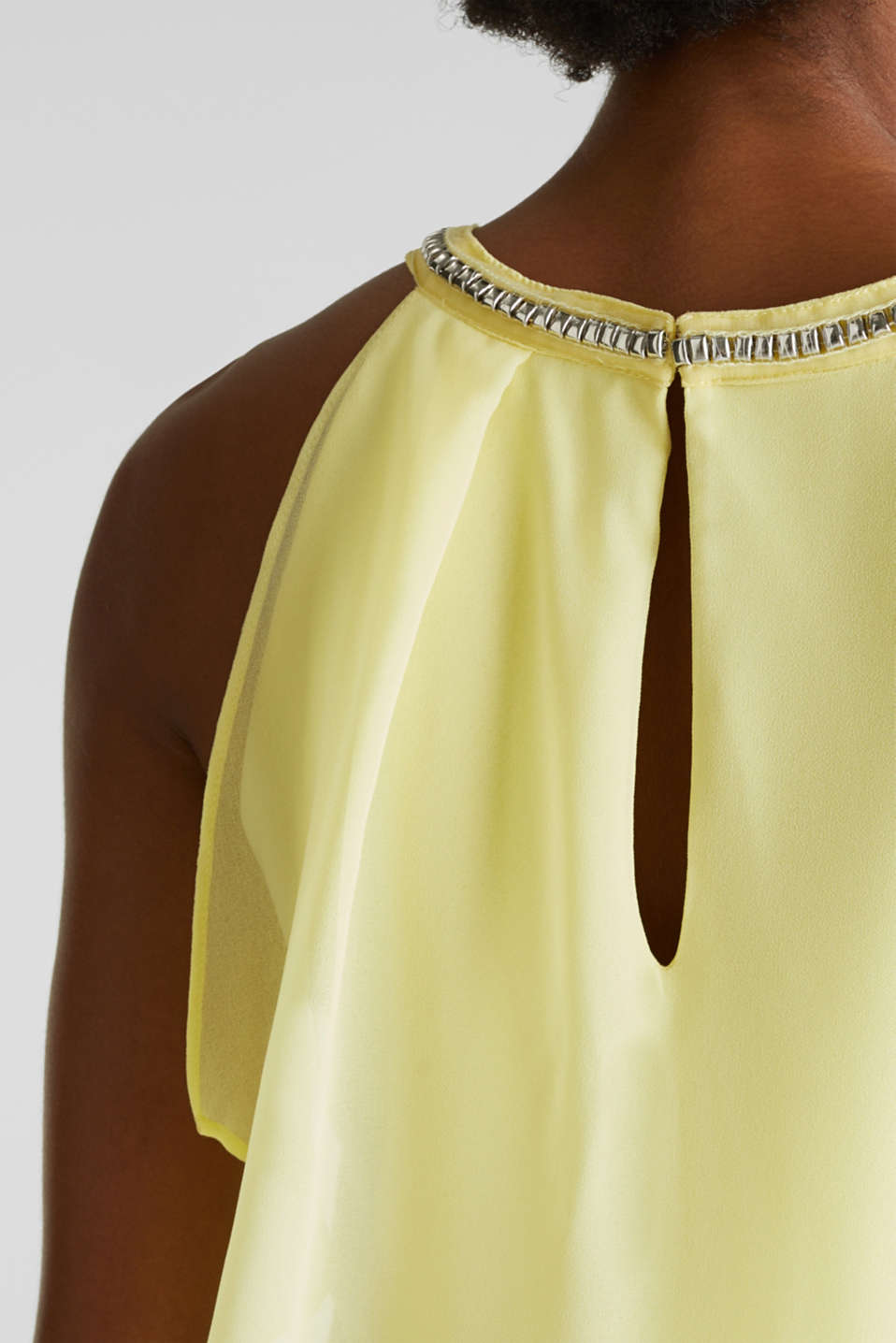 Jersey dress with chiffon layering, LIME YELLOW, detail image number 3