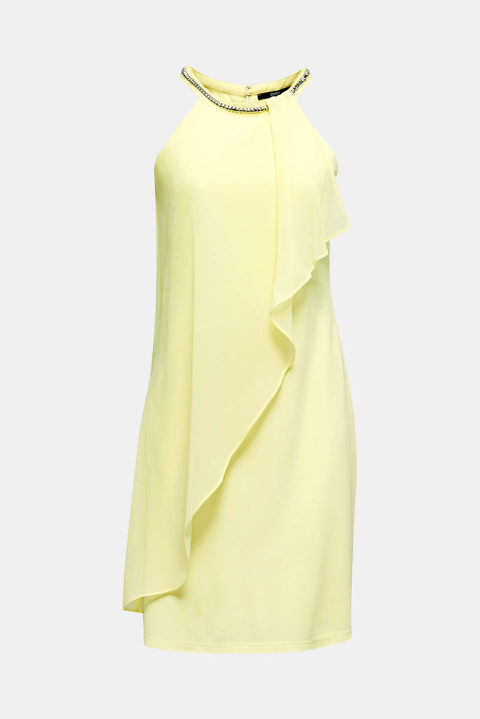 Jersey dress with chiffon layering, LIME YELLOW, detail image number 6