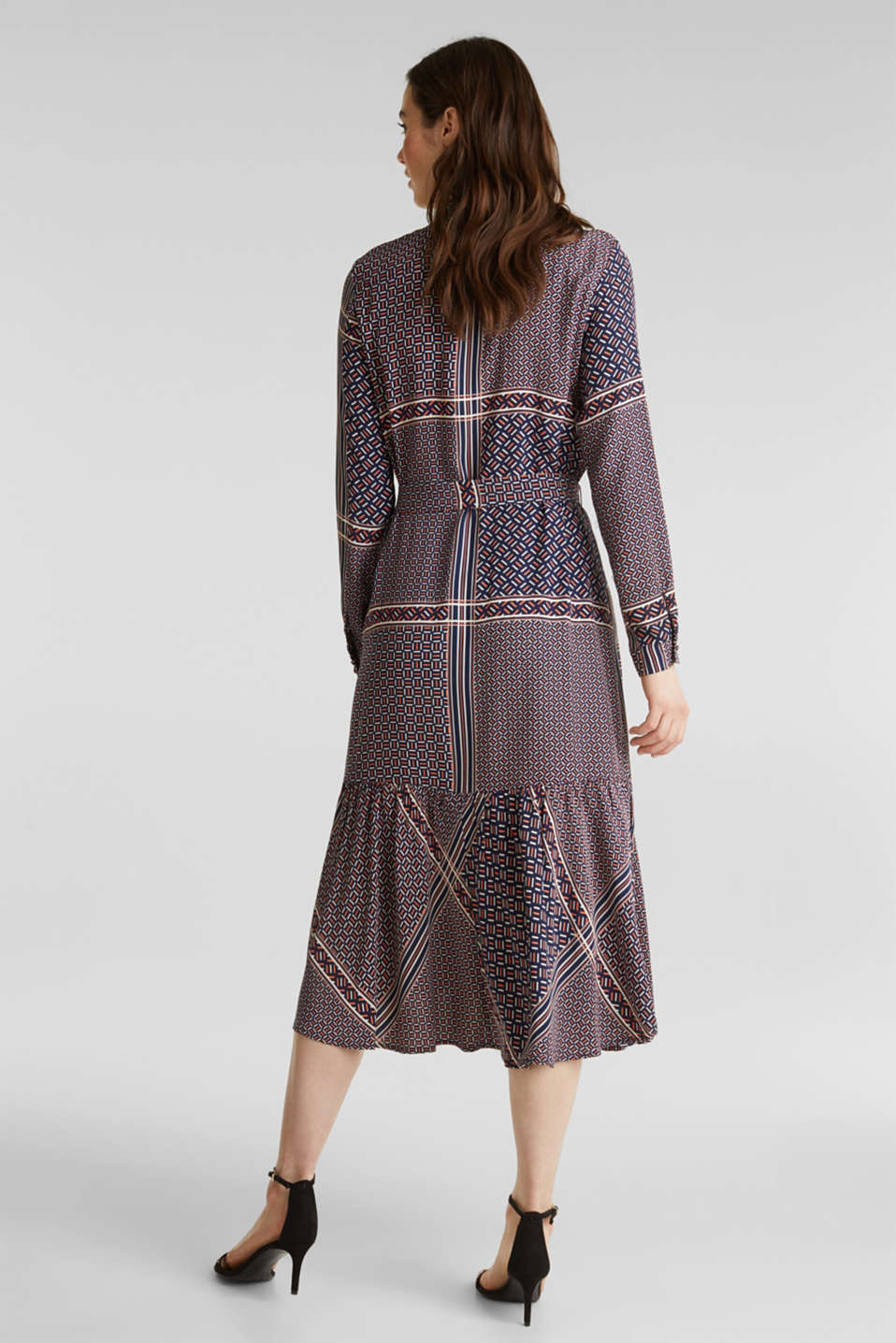 Midi dress with a modern tribal print, NAVY, detail image number 2
