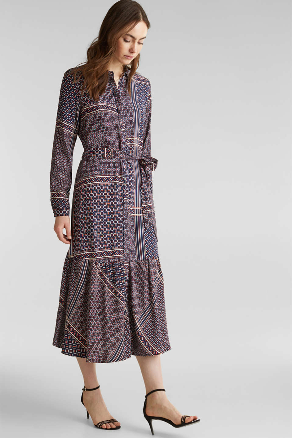 Midi dress with a modern tribal print, NAVY, detail image number 1