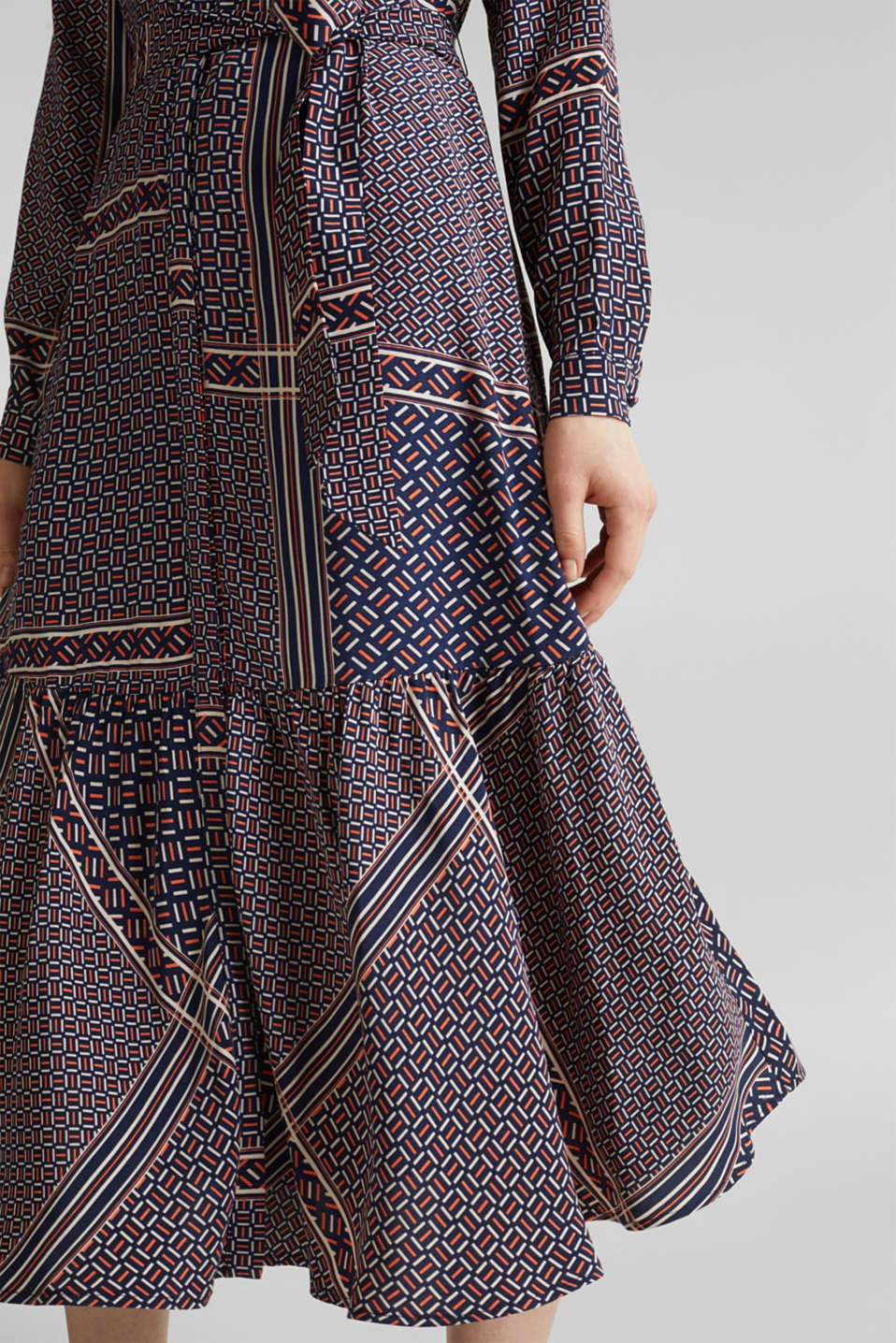 Midi dress with a modern tribal print, NAVY, detail image number 3
