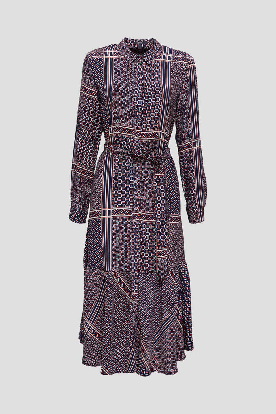 Midi dress with a modern tribal print, NAVY, detail image number 6