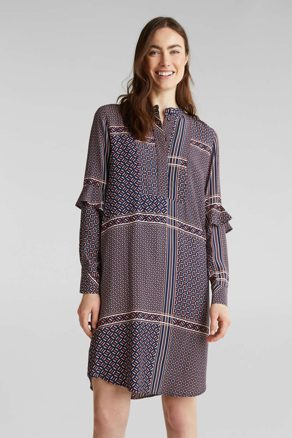 Dress with a modern tribal print, NAVY, detail image number 0