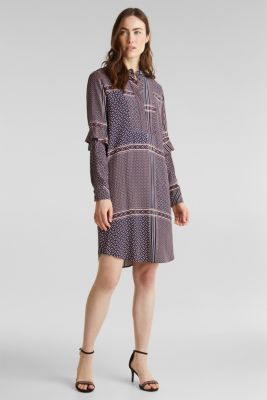 Dress with a modern tribal print, NAVY, detail