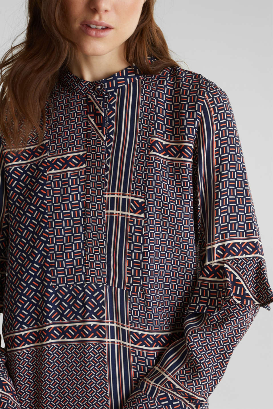 Dress with a modern tribal print, NAVY, detail image number 3