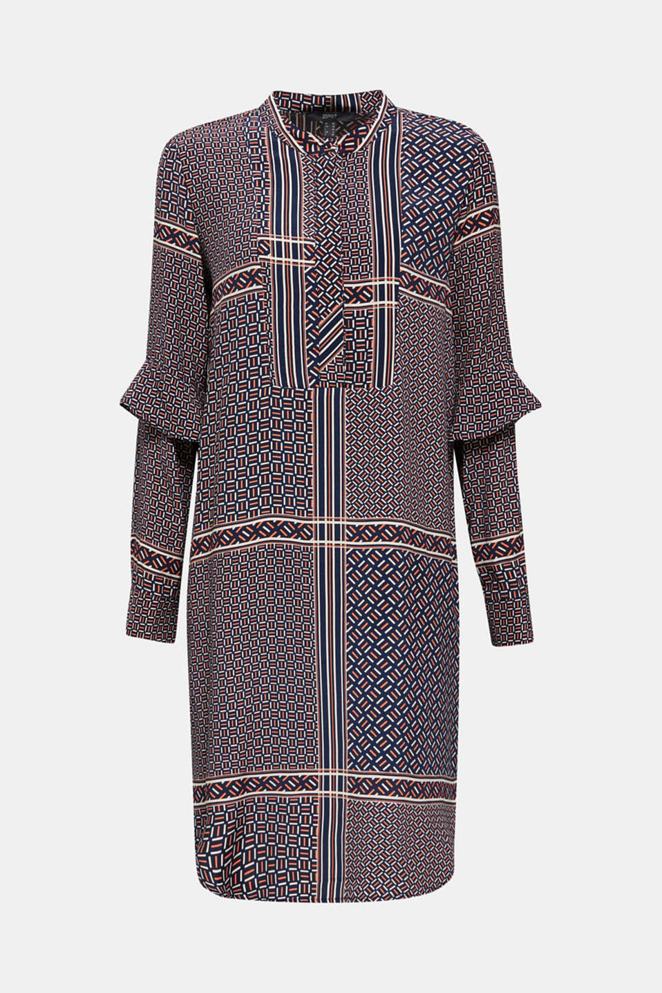Dress with a modern tribal print, NAVY, detail image number 7