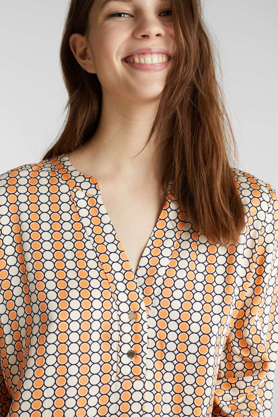 Henley blouse with a short button placket, OFF WHITE 4, detail image number 2