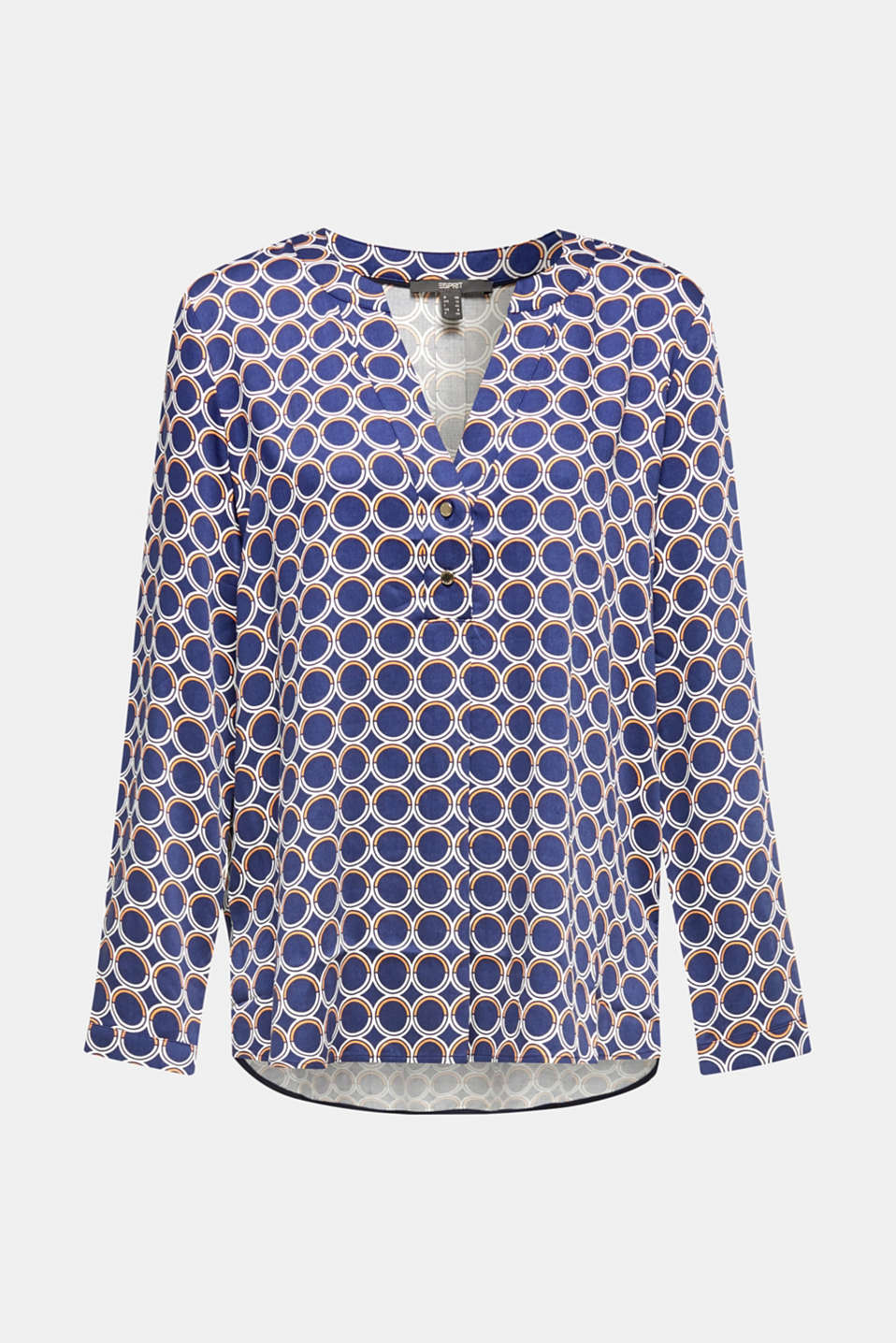 Henley blouse with a short button placket, NAVY 3, detail image number 4
