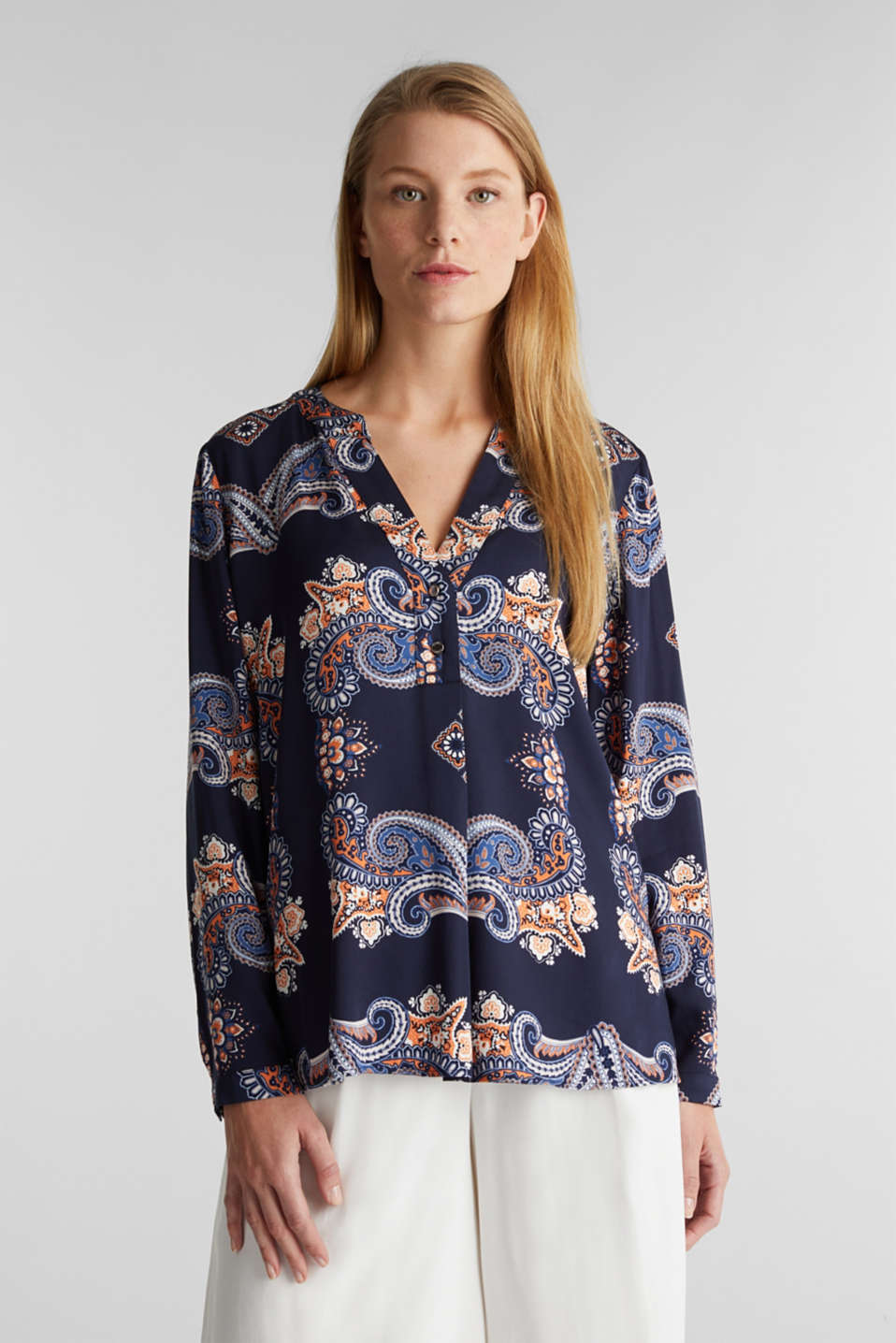 Henley blouse with a short button placket, NAVY 4, detail image number 0
