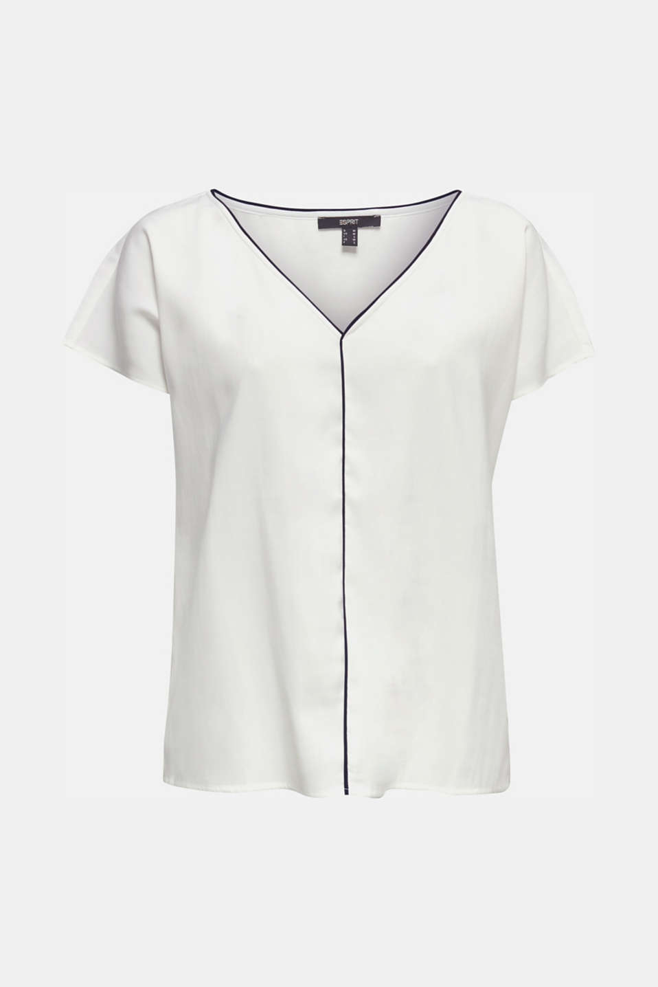 Blouse with contrasting piping, OFF WHITE, detail image number 6