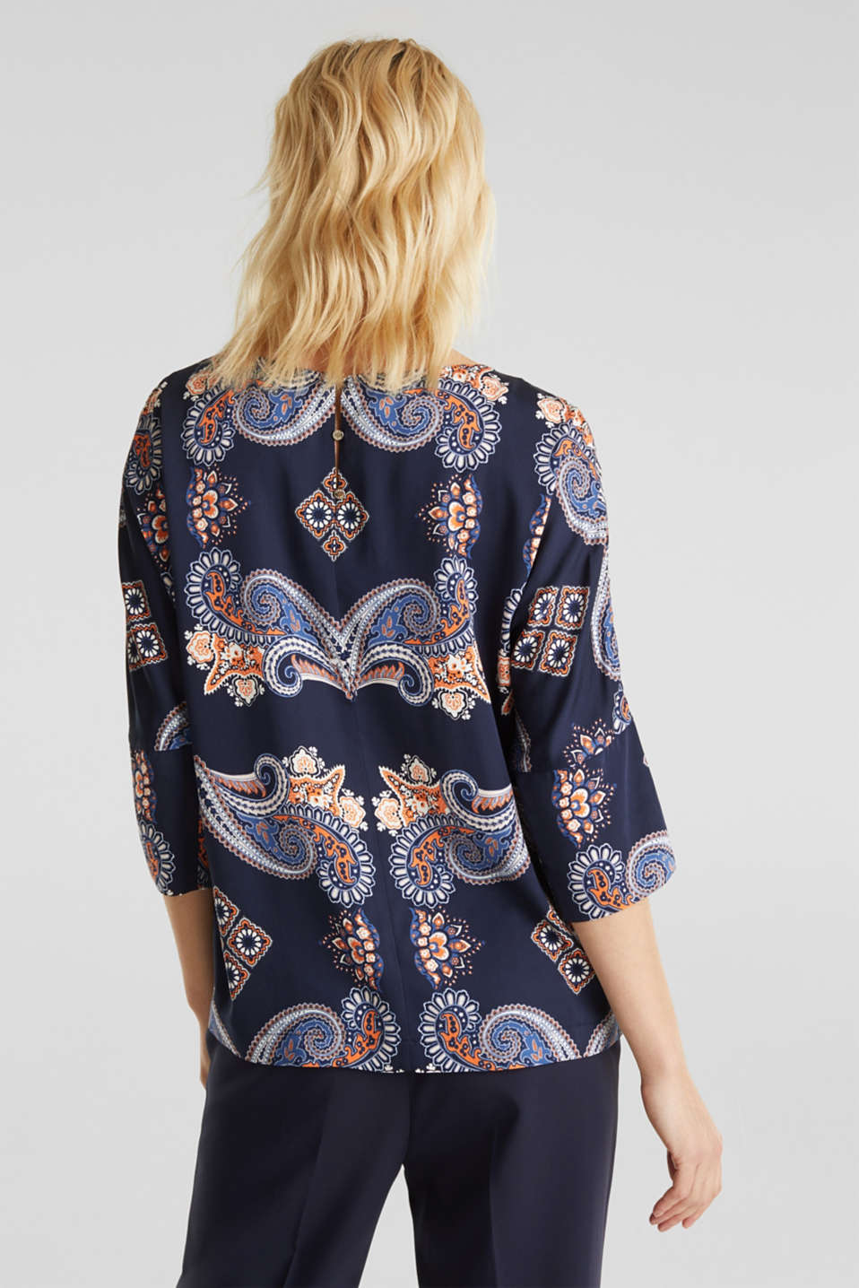 Blouse with a paisley print, NAVY 4, detail image number 3