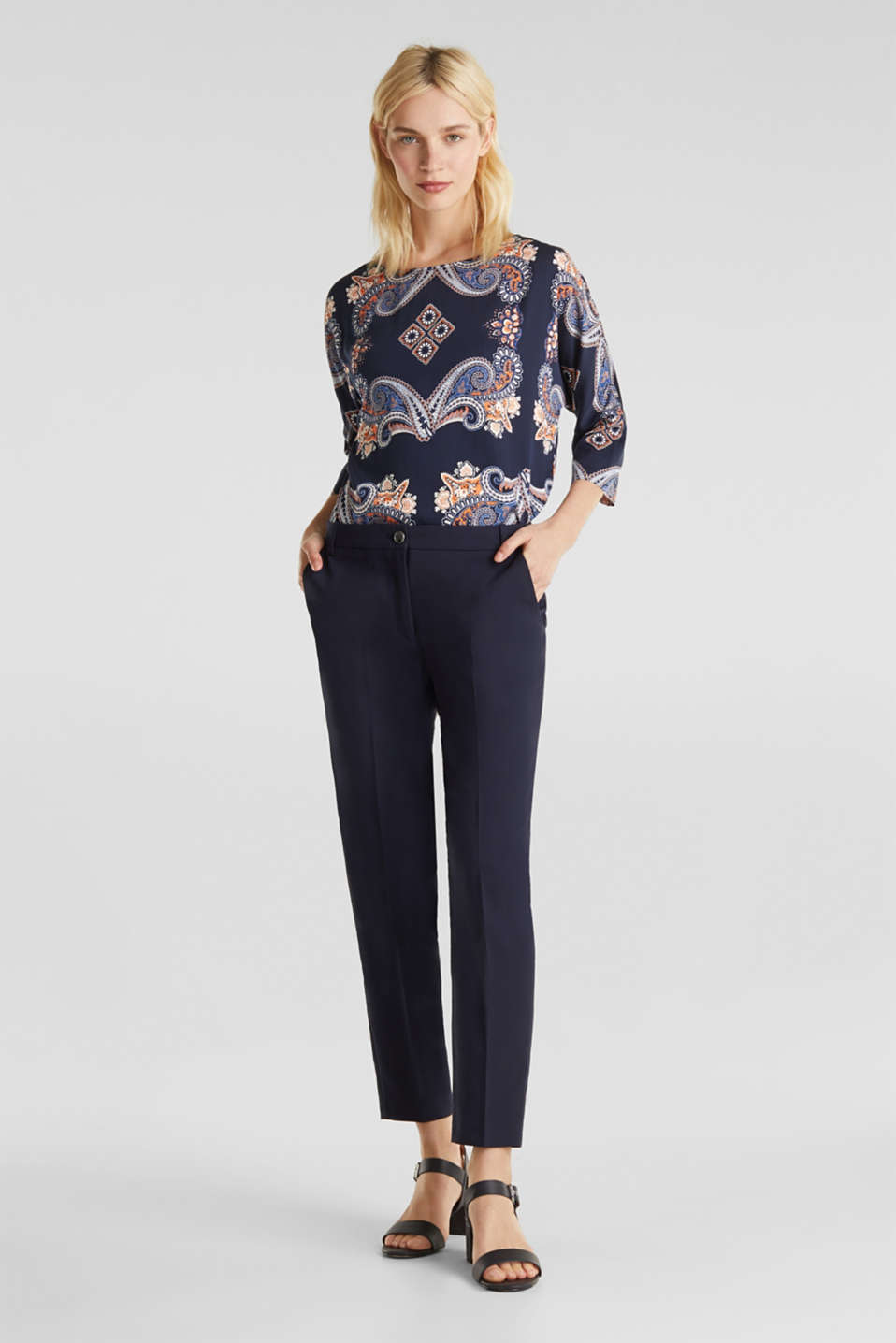 Blouse with a paisley print, NAVY 4, detail image number 1