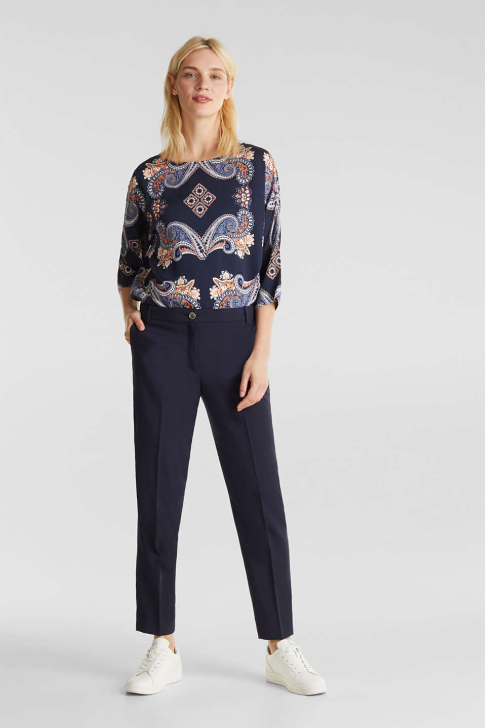 Blouse with a paisley print, NAVY 4, detail image number 6