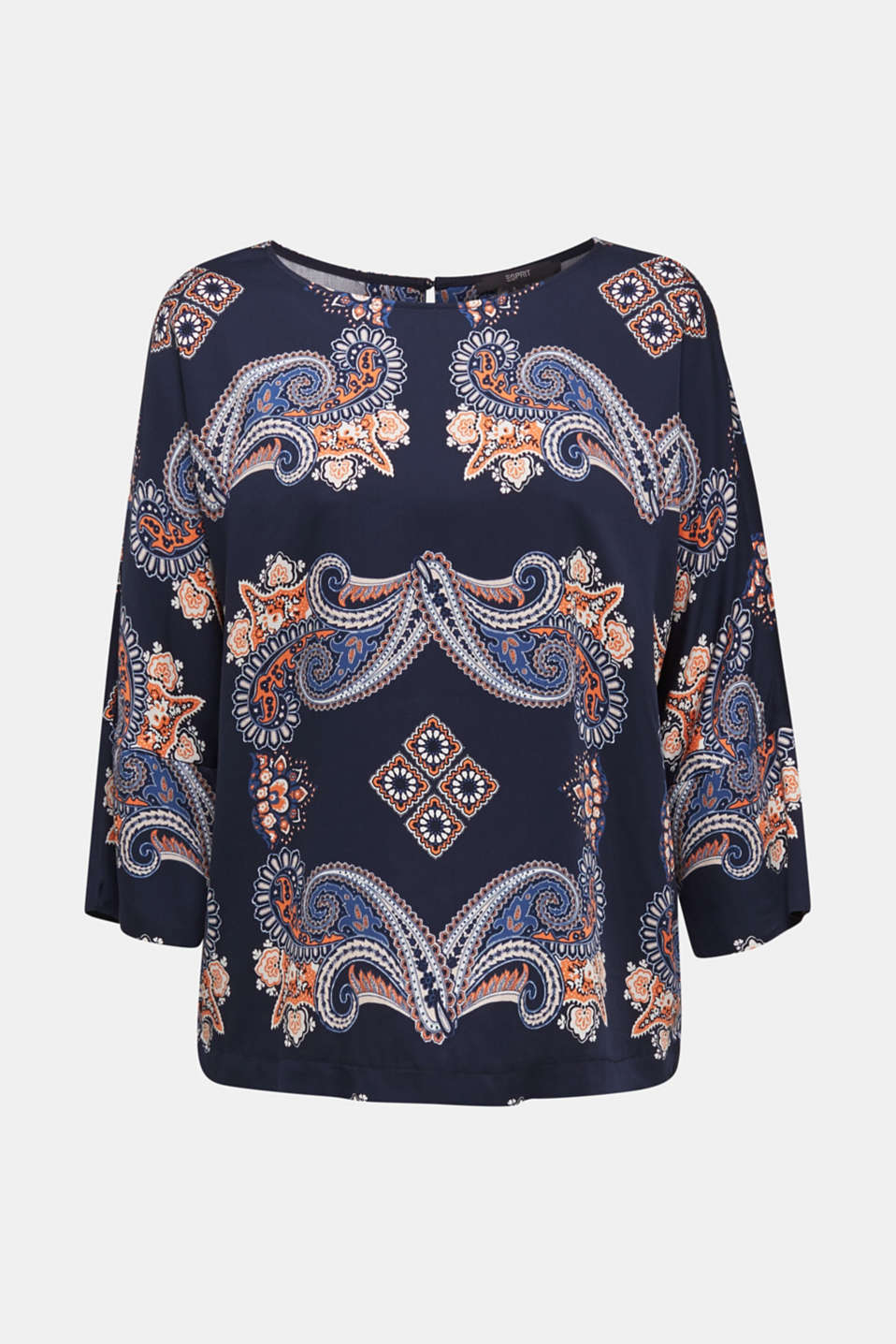 Blouse with a paisley print, NAVY 4, detail image number 7
