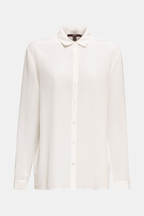 Made of blended silk: shirt blouse in a basic look