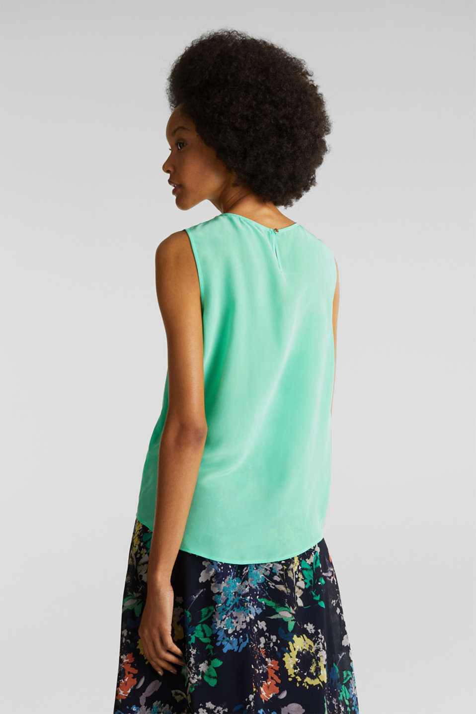 Blouse top with silk, LIGHT GREEN, detail image number 3
