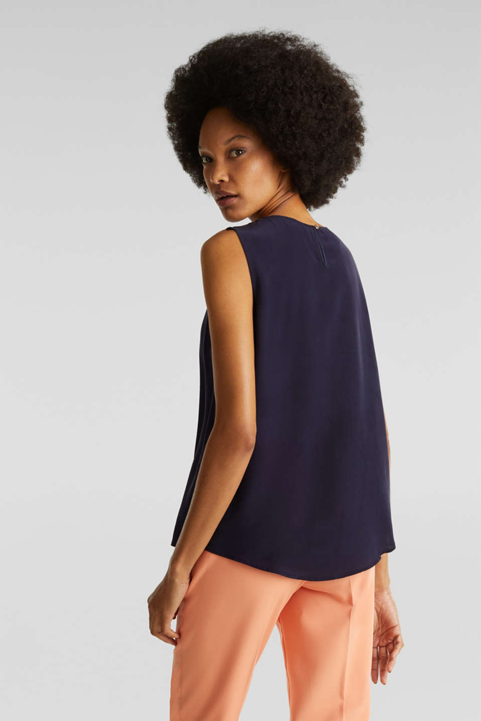 Blouse top with silk, NAVY, detail image number 3