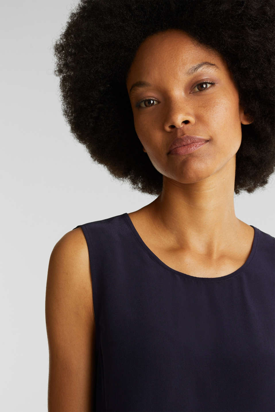 Blouse top with silk, NAVY, detail image number 2