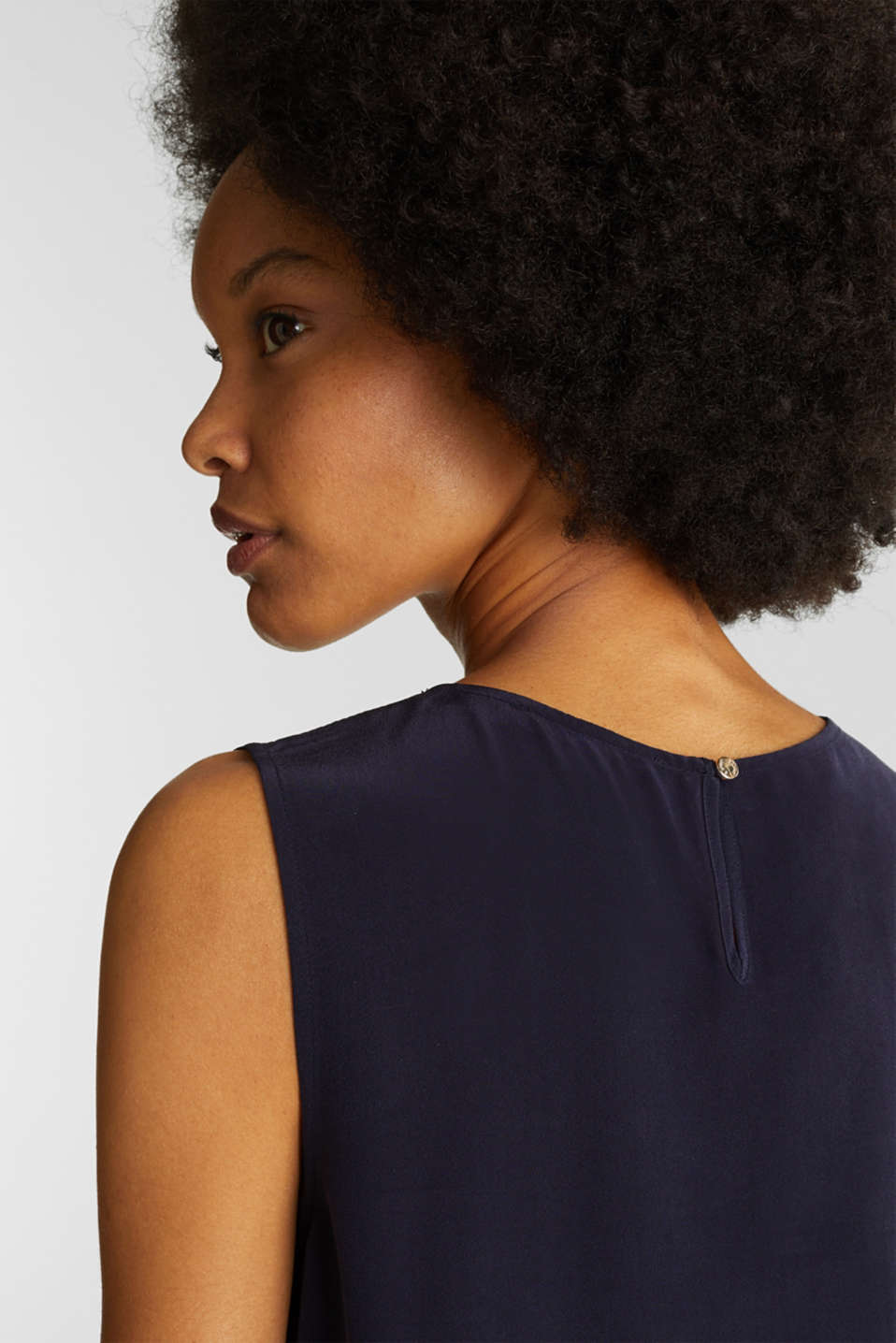 Blouse top with silk, NAVY, detail image number 5
