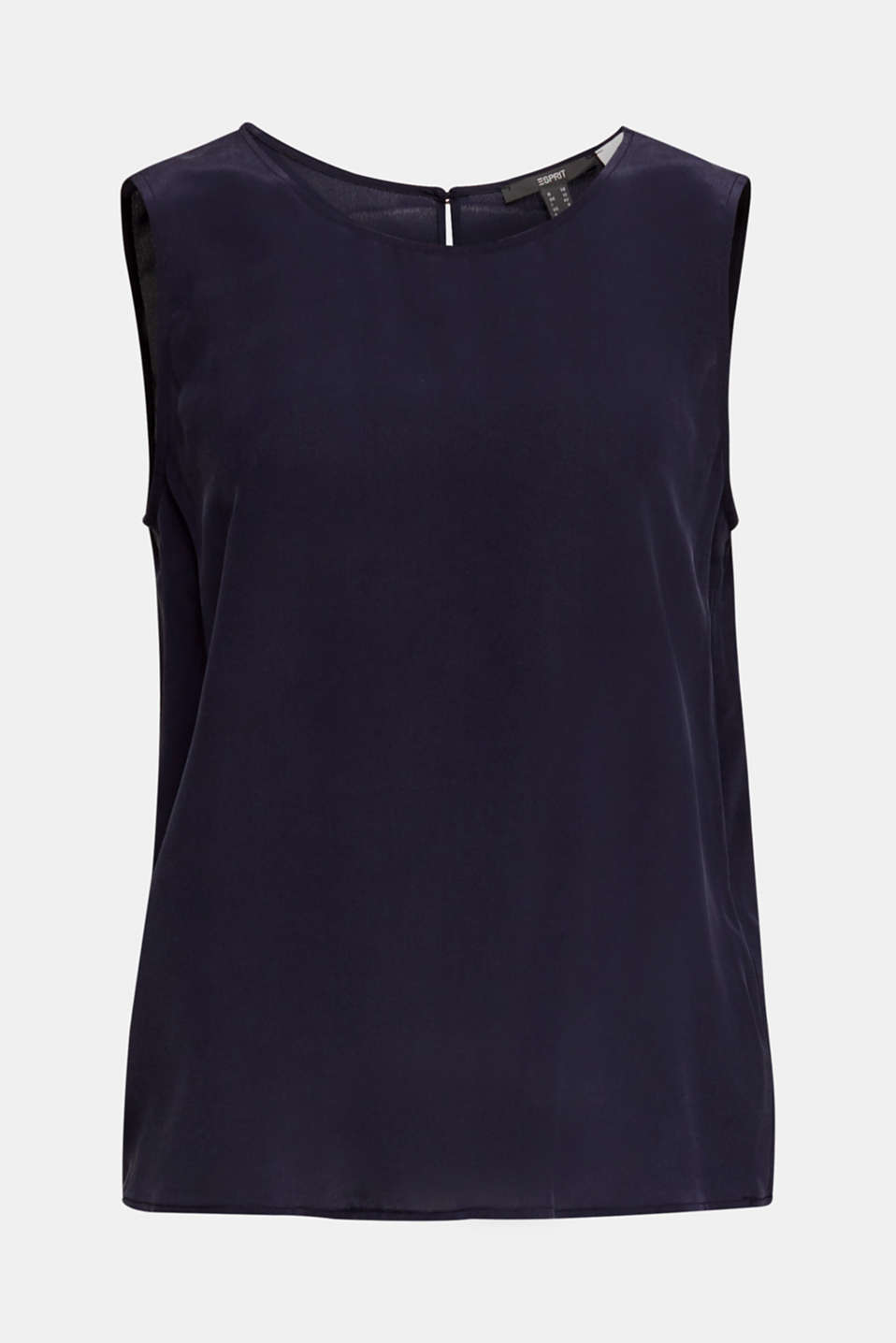 Blouse top with silk, NAVY, detail image number 7