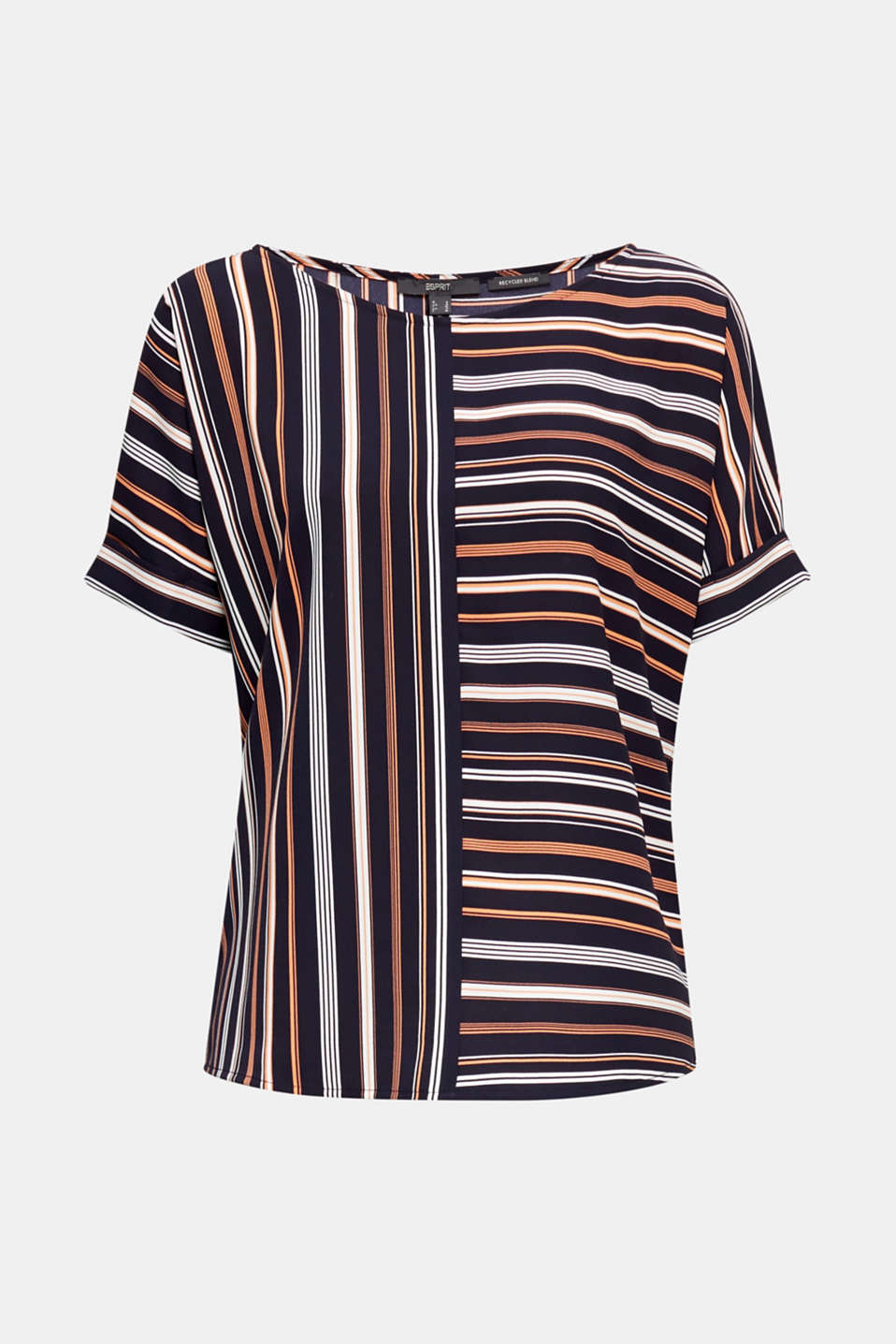 Striped blouse, recycled, NAVY 2, detail image number 7
