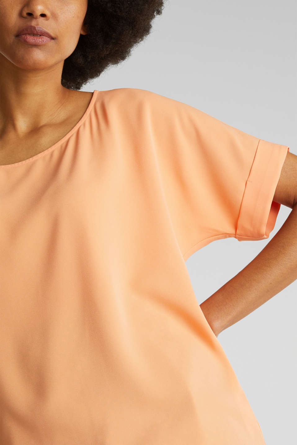 Unembellished blouse top, recycled, ORANGE, detail image number 2
