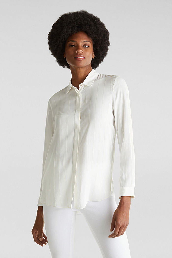 Shirt blouse with textured stripes, OFF WHITE, detail image number 0