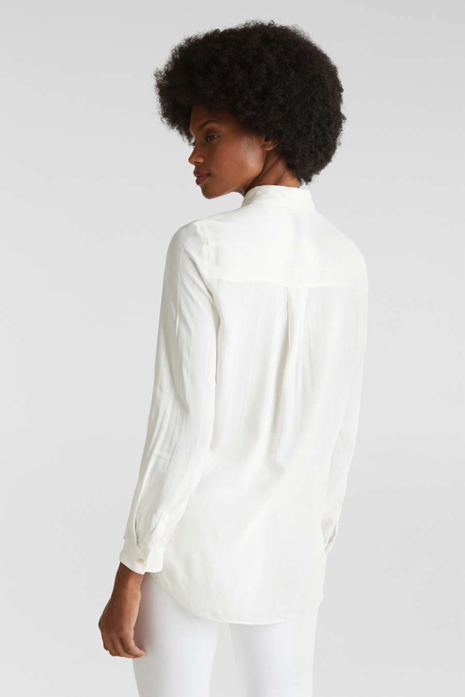 Shirt blouse with textured stripes, OFF WHITE, detail image number 2