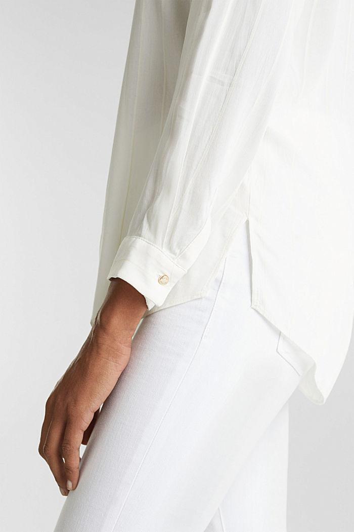 Hemdbluse mit Struktur-Streifen, OFF WHITE, detail image number 4