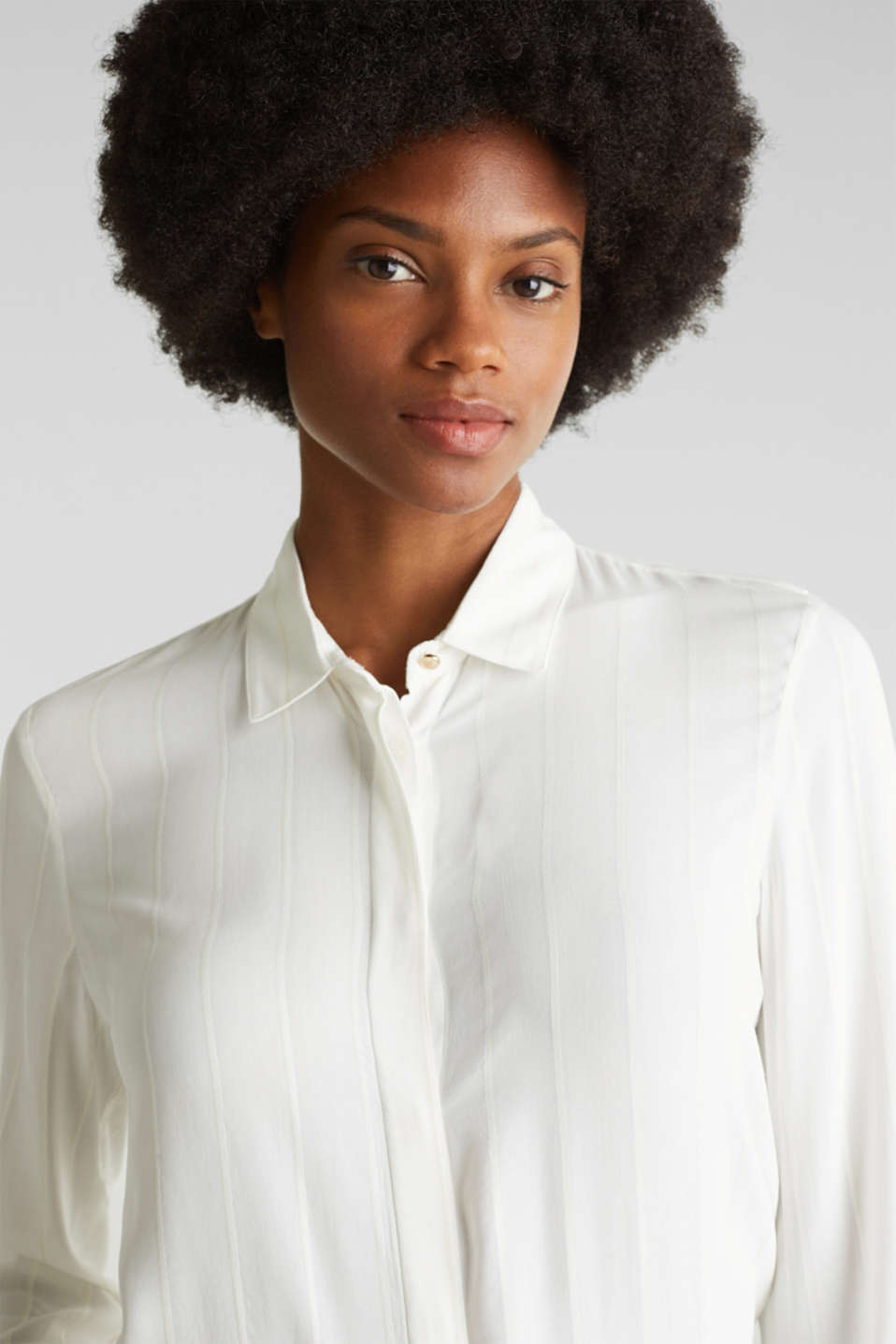 Shirt blouse with textured stripes, OFF WHITE, detail image number 5