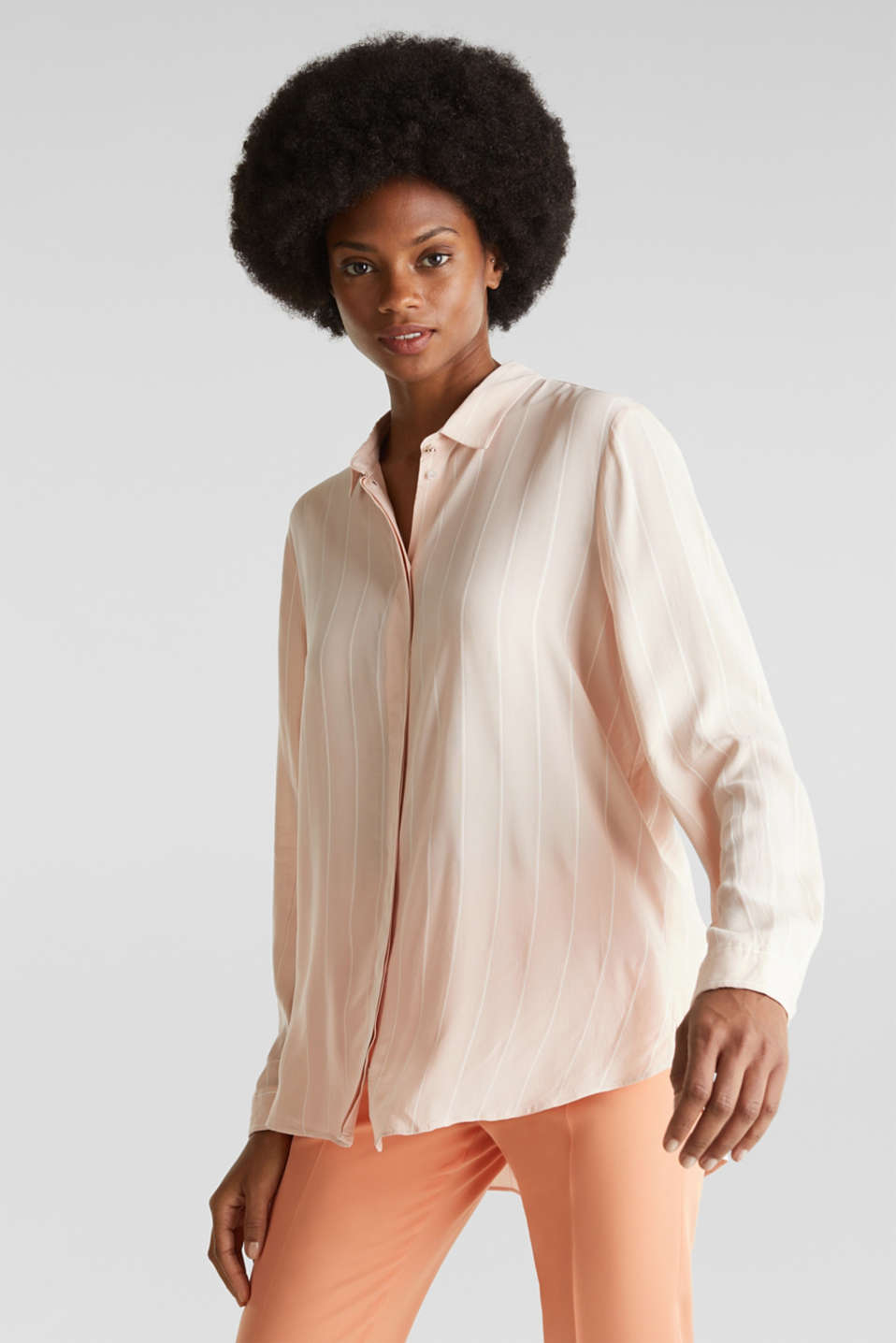 Esprit - Shirt blouse with textured stripes